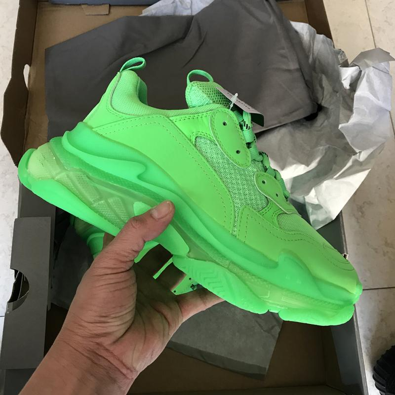 2019 new fashion triple S designer dad shoes best quality triple dark green transparent soles men's and women's casual shoes