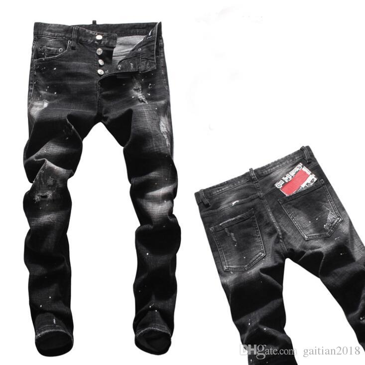 New 2019 Man Ripped Denim Tearing Jeans black Cotton fashion Tight spring autumn Men's pants A8037