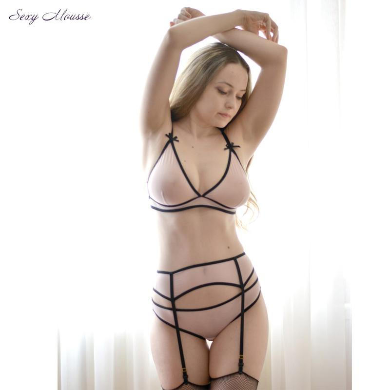c453e321068ac 2019 Wholesale Mesh Bra Set With Garter Belt Sexy Lingerie Soft Cup Bralette  Crotchless Panty See Through Sleepwear From Hongxuanstore002