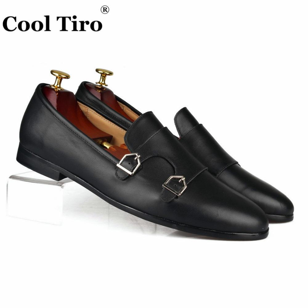 56b14b7cc15 Double-Monk Loafers Men Moccasin Slippers Wedding Dress Shoes Black Genuine  Leather Casual Shoes Formal Business Flats