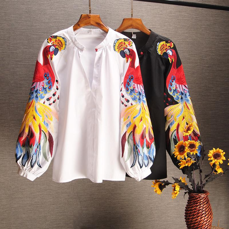 2019 Spring And Summer Cotton Causal Shirts Embroidered Long-sleeved Shirts Woman Full Button Print O-neck Lantern Sleeve J190614