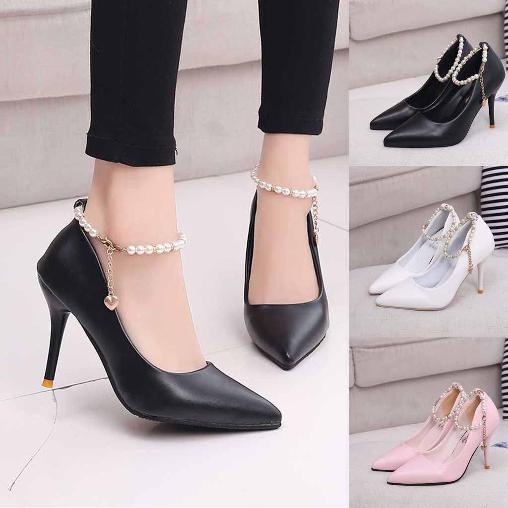7d902e4f9bd Dress Shoes Sexy Women S High Heels Sandals Korean Tip Thin Mouth Beaded  Single Shoe Wild Buckle Fashion Work Zapatos Mujer Strappy Heels Geox Shoes  From ...