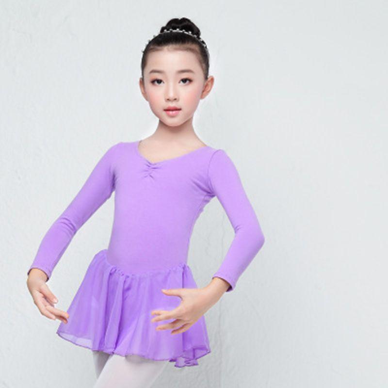 09ad95269 Spandex Long Short Sleeve Kids Ballet Dress Girls Butterfly ...
