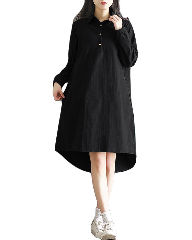 1d386cc408df 2019 New Fashion Plus Size Maxi Cotton Dress Turn Down Collar Button Hi Low  Hem Long Sleeves Robe Loose Casual Dress Green Black Womens Sundresses  Womens ...