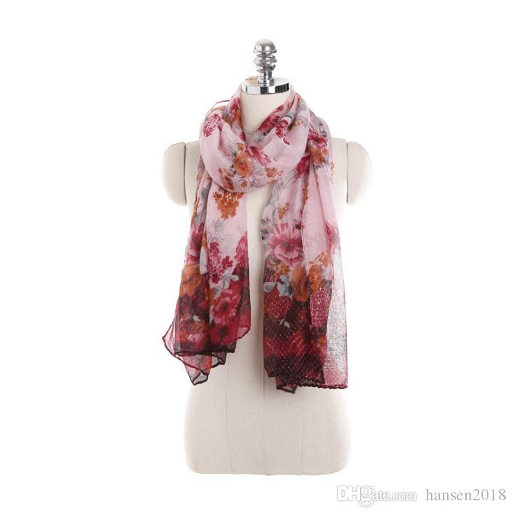 1f4669b2f40 2019 Spring Light women Scarf lady Polyester Linen Scarfs Vintage Shawls  And Scarves Wrap Good Quality light weight wholesale