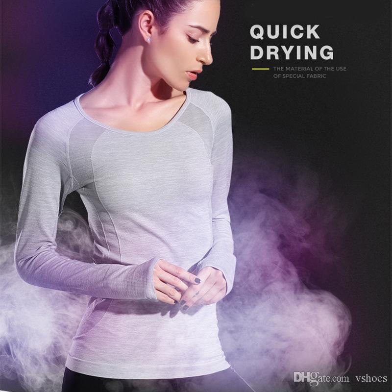 1dfc1c7d31d3ac 2019 Pink Seamless Yoga Shirts For Women Vital Seamless Long Sleeve Crop  Top Thumb Hole Fitted Gym Top Shirts Workout Running Clothes #74737 From  Vshoes, ...