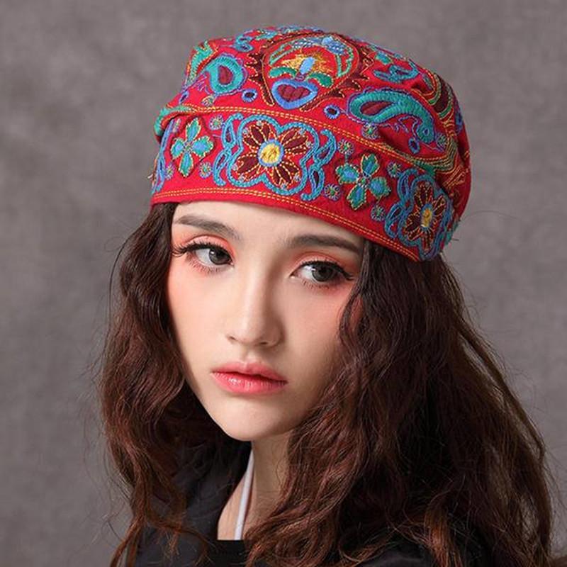 7d4fa3f32 2019 Sexy Women Vintage Bohemia Beanie Boho Hat Ethnic Embroidery Flowers  Slouch Female Cotton Skullies Skullcap Cap