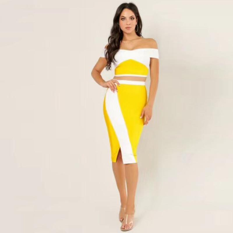d4ee8185b01 Elegant Yellow And White Two Set Bodycon Dress High Quality Off Shoulder  Midi Party Bandage Dress Vestidos Casual Dresses At Red And Black Casual  Dresses ...