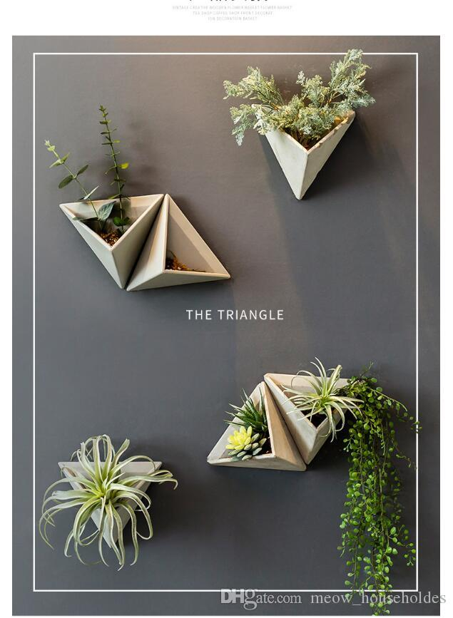 Triangular flower apparatus Retro American Cement Wall Hanging Simulated Flower Pot Wall Hanging of Polyporous Plants in Restaurant