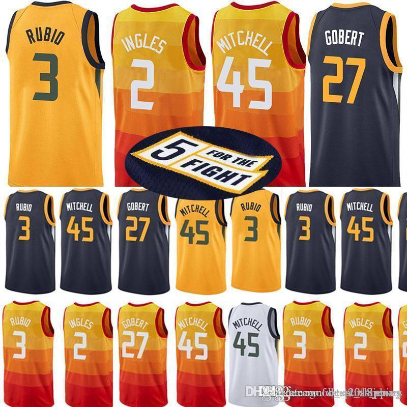 685a4609b9e 2019 Utah Jazzs 45 Donovan Mitchell Jersey 27 Rudy Gobert 3 Ricky Rubio 2  Joe Ingles 12 John Stockton 32 Karl Malone 24 Grayson Allen Jerseys From ...
