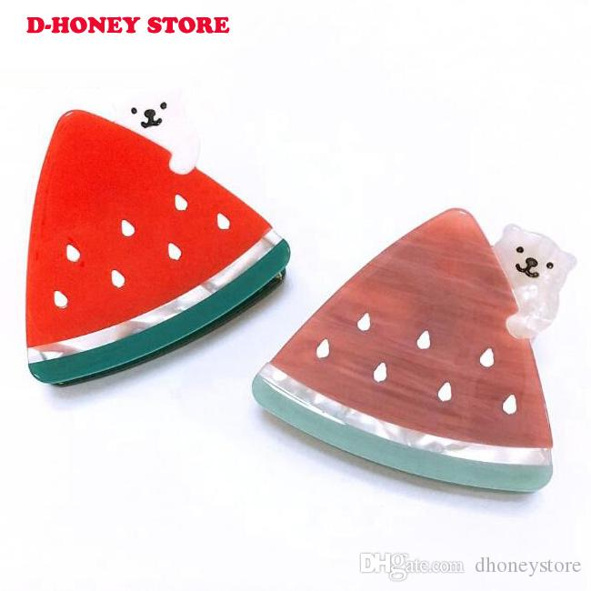 Korea Fashion Hair Claws For Women Acetate Little Bear Watermelon Hair Clips Cute Hairpins Hair Accessory Girl Party Gifts