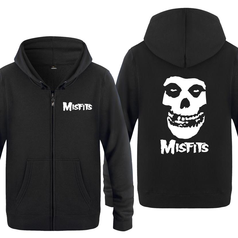 The MISFITS Punk Rock Music Sudaderas Hombres 2018 Hombres Zipper Hooded Fleece Hoodies Cardigans