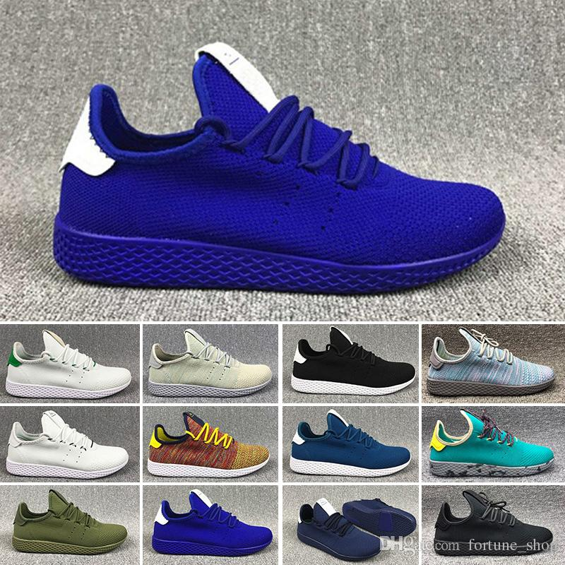size 40 89f67 7e0d0 Acheter Adidas Pw Tennis Hu Chaud Pharrell Williams HUMAN RACE Rouge Noir  Blanc Rose Stan Smith Tennis HW 3D Primeknit Hommes Femmes R1 Sneakers  Chaussures ...