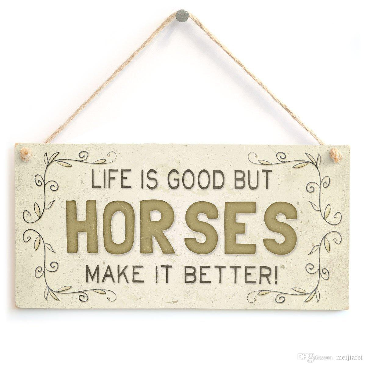 Meijiafei Life Is Good But Horses Make It Better! - Super Cute Country Home  Style Home Accessory Gift Sign for Horse Lovers 10