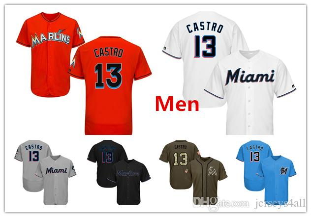 size 40 b31a9 8c620 Mens Miami Marlins Baseball Jerseys 13 Starlin Castro Jersey Black White  Orange Grey Gray