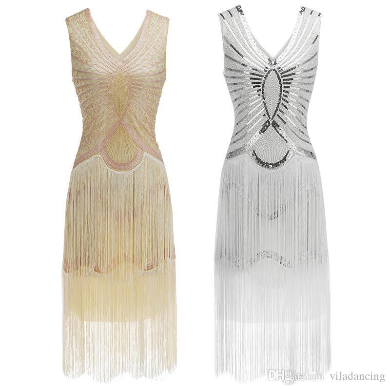 da5561f5f0ae6 Vintage des années 1920 paillettes Flapper robe Gatsby Art Déco Double  Femmes Frange Grande Partie Tassel Moulante Perlée Costume Sexy robe