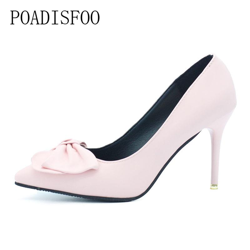 aaae7f8026b6 2019 Dress Spring Women Girls High Heels Pumps Bowknot Light Blue Sexy Pumps  Thin Hih Heel 10cm Point Toes Blue Color .DFGD 2528 Silver High Heels ...