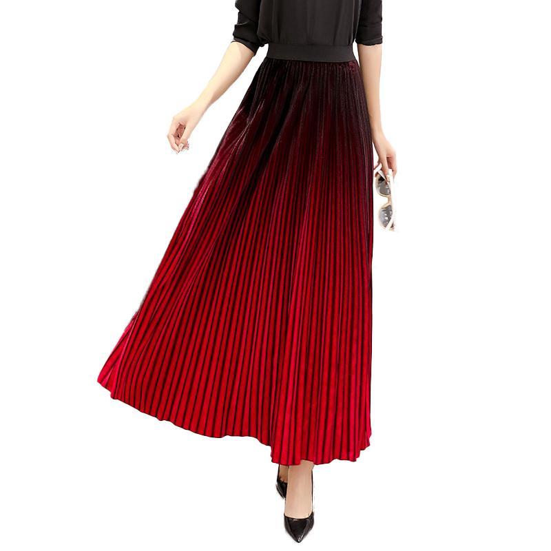 125272fad Degradado verde oscuro de las mujeres de terciopelo largo falda plisada  2019 primavera tobillo longitud de terciopelo elegante Saias Longa 2641