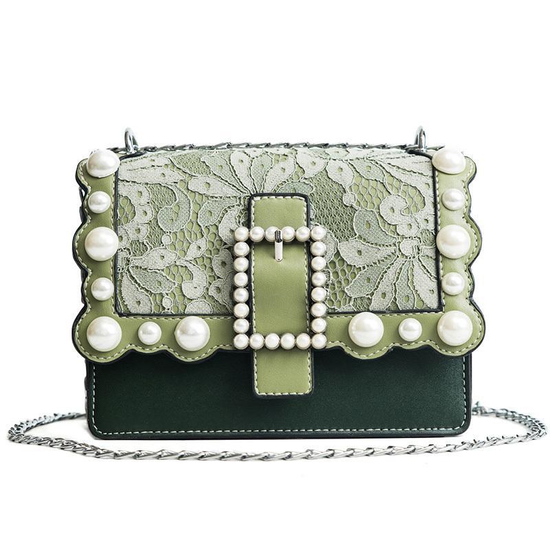 d95a3091e7 Pearls Messenger Bag Lock Elegant Women Handbags Princess Lace Patchwork  Casual Shoulder Bags New Vogue Pu Leather Handbag 974 Leather Satchel Ladies  Bags ...