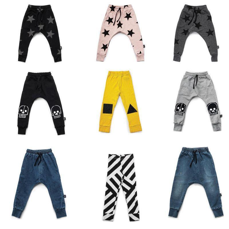 38340b0b6 Nununu Harem Pants French Terry Skull Robot Patch Baggy Pants For Boy Girl  Baby Striped Geometric Leggings Kids Raw Denim Pants Black Pants Kids Boys  Cargo ...