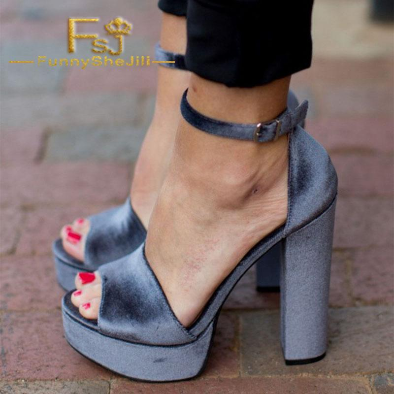 23f416457db Grey Velvet Chunky Heel Sandals Peep Toe Ankle Strap Platform Sandals  Incomparable Elegant Noble Sexy Generous Women Shoes FSJ Wedge Boots  Comfortable Shoes ...