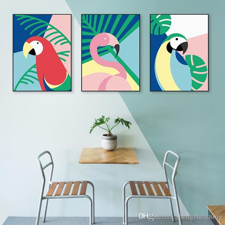 Excellent Modern Abstract Colorful Birds Flamingo Macaw Posters Prints Nordic Living Room Wall Art Picture Cafe Home Decor Canvas Painting Frankydiablos Diy Chair Ideas Frankydiabloscom