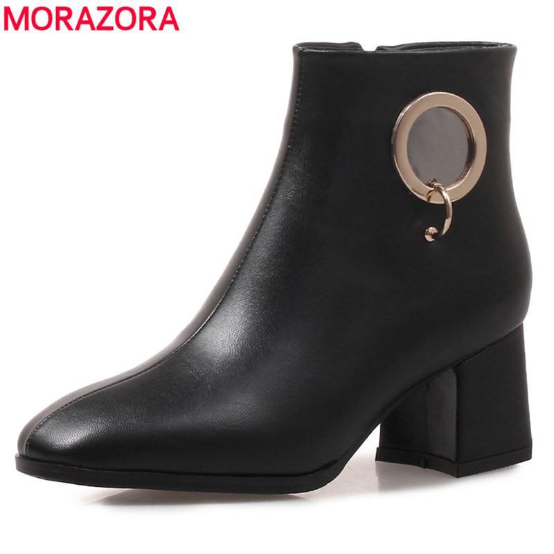 ac5447af81 Compre MORAZORA Plus Tamaño 34 43 Nuevo 2019 Botines De Tacón Cuadrado  Otoño Invierno Botas De Color Sólido Moda Mujer Zapatos Gota Nave A  45.87  Del ...