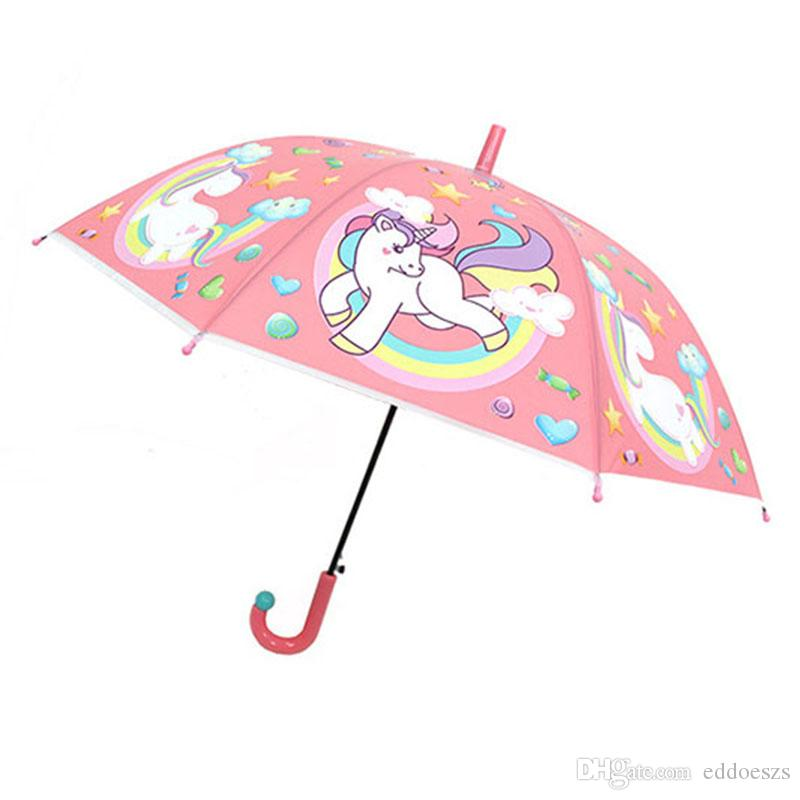 917a6268c20c Wholesale Unicorn Umbrella Cute Children Long Handle Transparent Umbrella  Cartoon Auto Open Close Folding Waterproof Kids Travel Umbrellas
