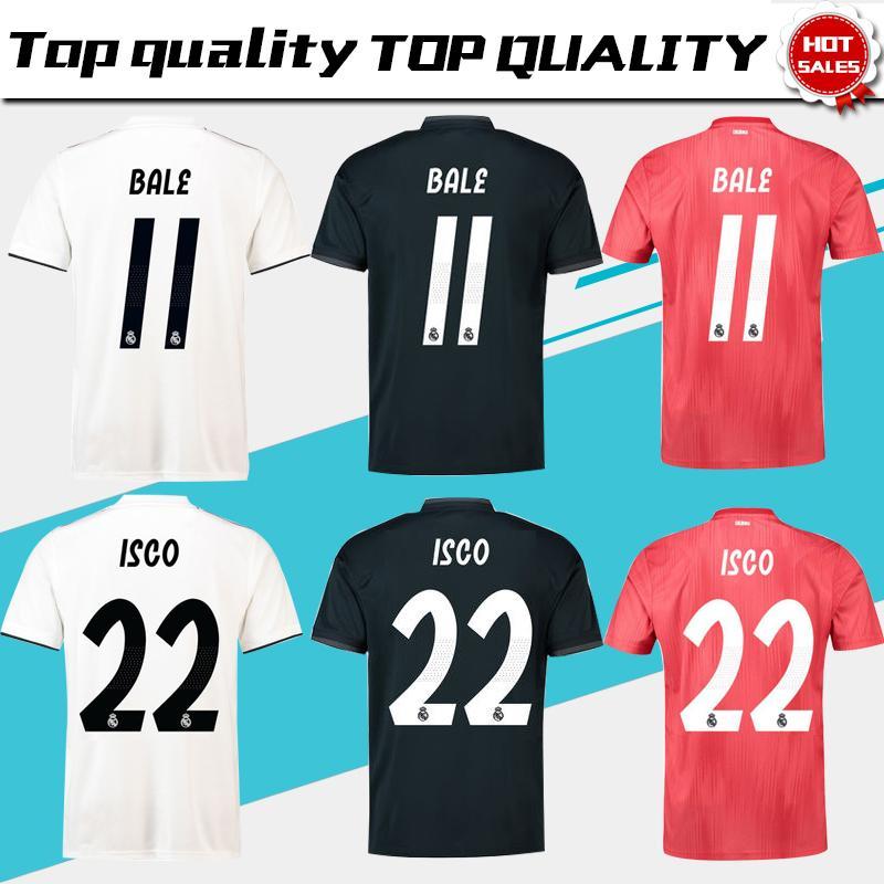 1d7bbea48 Großhandel Thai R Madrid Weißes Heimtrikot 18 19 Real Madrid Auswärts Trikot  2019 KROOS ISCO ASENSIO BALE 3. Rot Fußball Uniform 3.