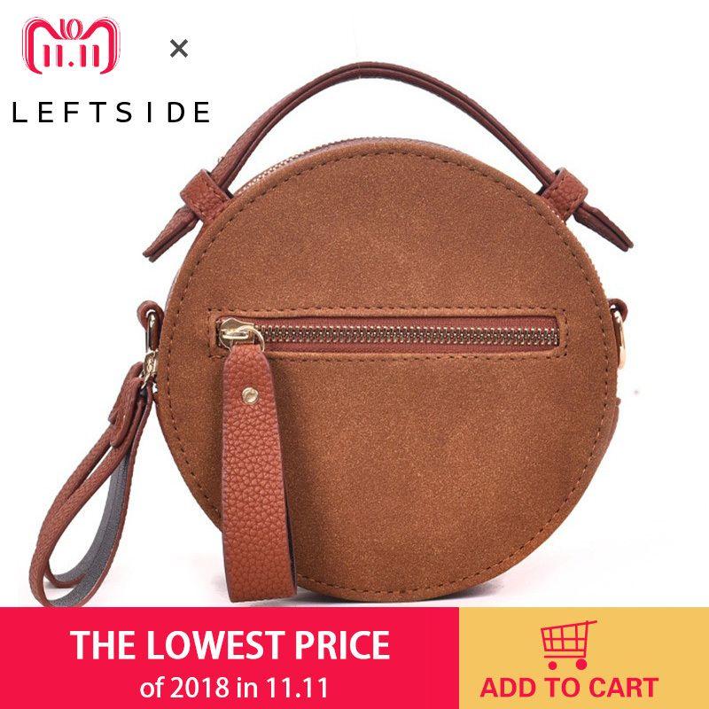 ce99a221f4 2019 Fashion LEFTSIDE Circular Bags For Women 2018 Scrub Leather Handbag  Female Small Round Shoulder Bags Messenger Bag Purses And Handbags Leather  ...