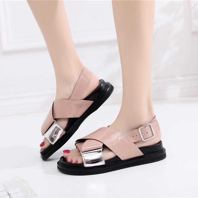 17d9d8a0854 Women Sandals 2019 Summer Casual Leather Gladiator Sandals Women Black  Chunky Sandal For Girl Beach Shoes Woman Summer Shoes