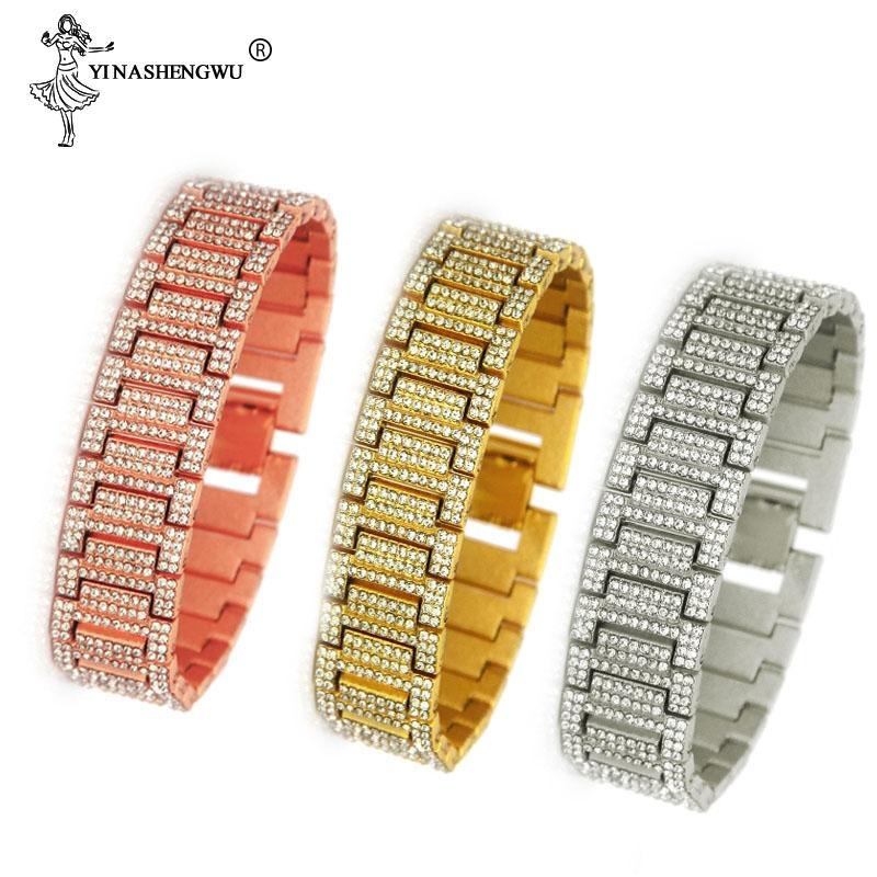 Hip Hop 21 mm Full Rhinestones Iced Out Bling Gold Silver Watch Band Link Chain Bracelets Bangles for Men Rapper Jewelry Pulsera