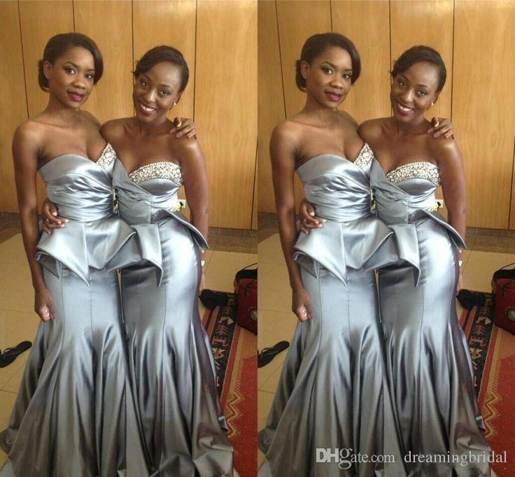 African Black Girl Grey Bridesmaids Dresses 2018 New Sweetheart