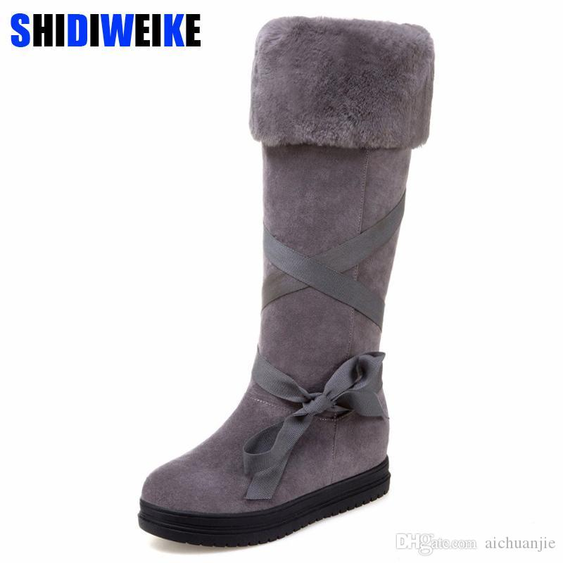 71bfb3b8801 2018 Fashion Riband Snow Boots For Women Bootlace Suede Leather Plush Fur  Lined Girls Winter Shoes Waterproof N040 Cheap Shoes For Women Snowboard  Boots ...