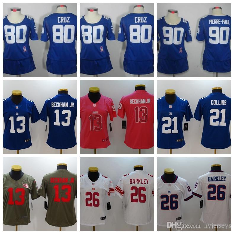 933096416 2019 Stock Women'S New York Giants 26 Saquon Barkley 10 Eli Manning 21  Landon Collins 17 Daniel Jones Custom Football Jerseys From Nyjerseys, ...