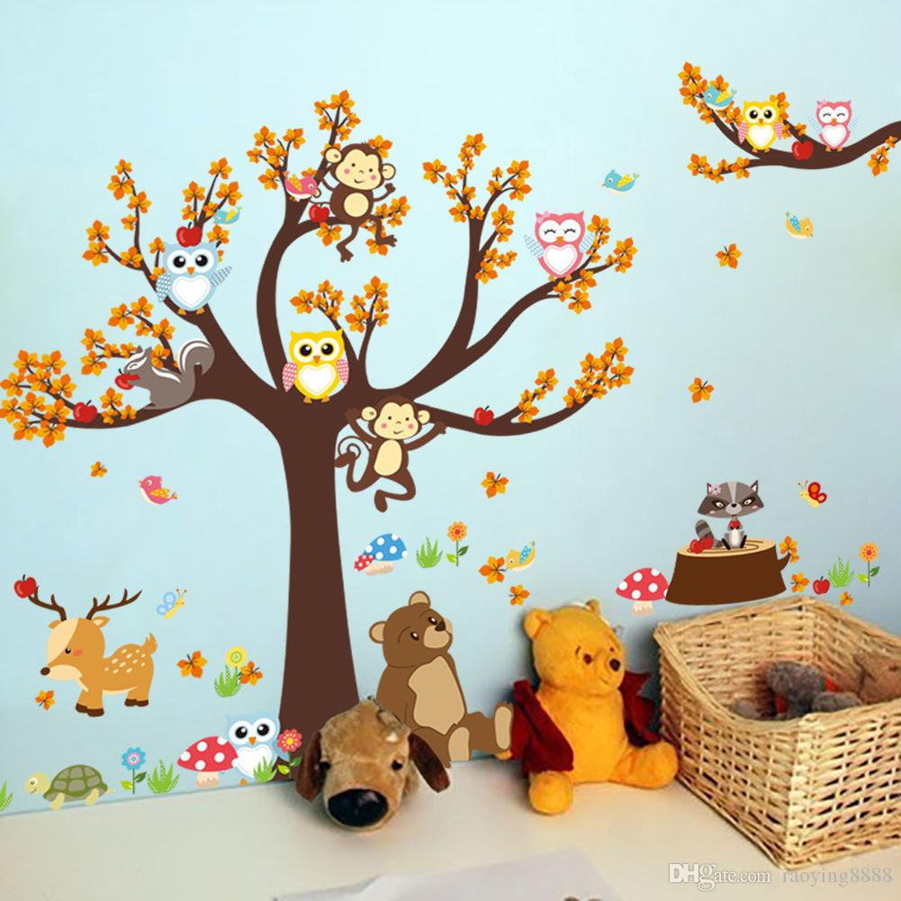 Cute Monkey Owls Big Tree Jungle Animals Wall Stickers 30*90*2 Decal Kids Funny Room Decor Mural Home Decor Cute Monkey Owls Big Tree Jungl