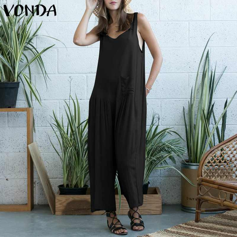 6f680604e1a4 VONDA Rompers Womens Jumpsuit 2019 Casual Loose Wide Leg Pants Sexy ...
