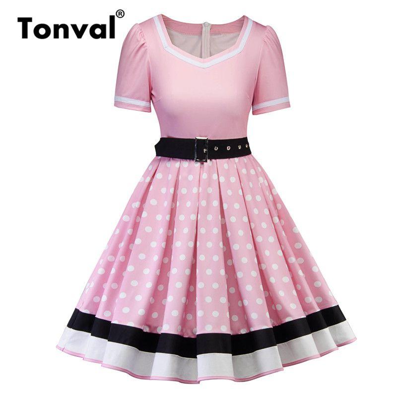best service 72856 35d22 vendita all ingrosso retrò rosa pin up rockabilly vestito a pois cintura  con cintura vintage Hepburn donne abito a pieghe eleganti abiti estivi