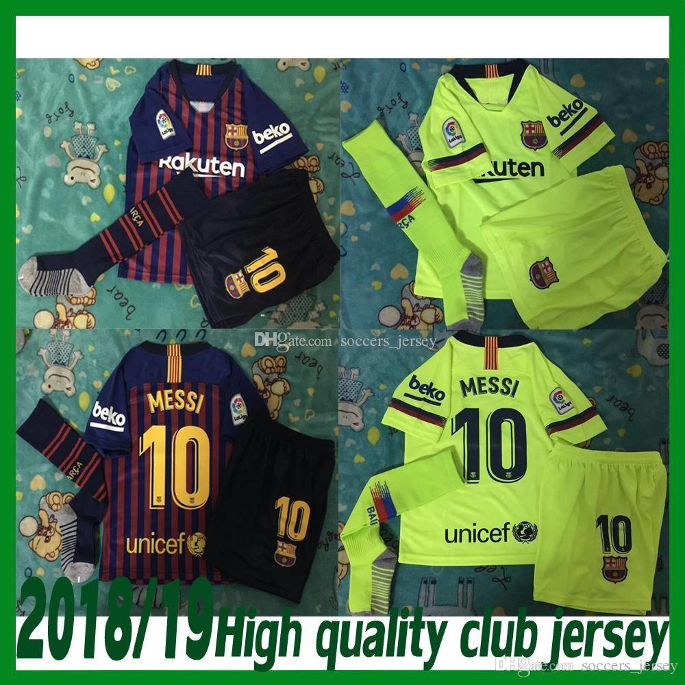 5398362f9da Barcelona MESSI SUAREZ Kids Jersey Soccer 2019 Camisas Blue Dembele ...