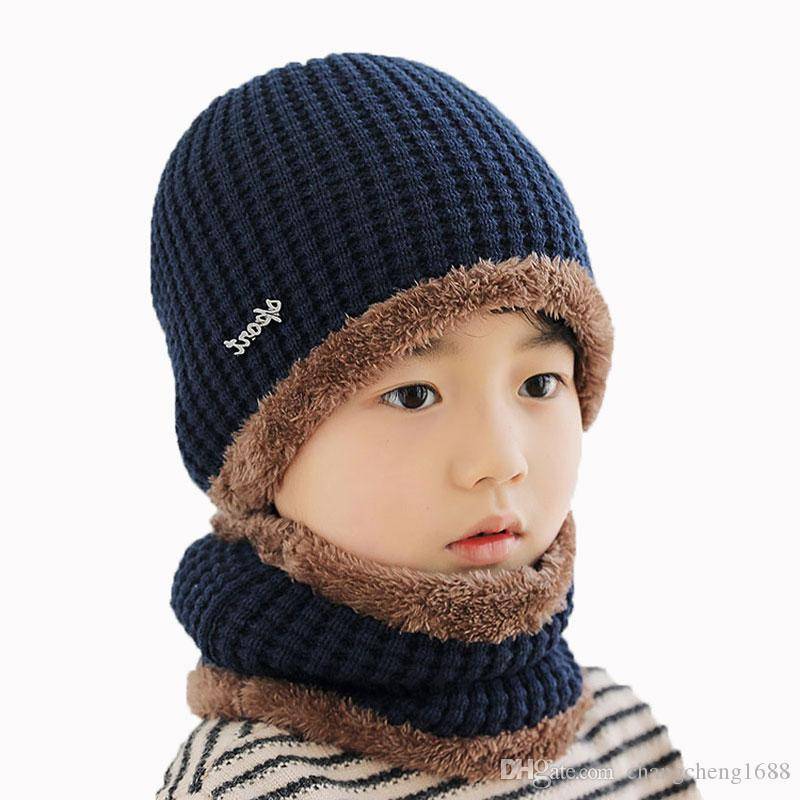 7eec4393218 Child Winter Hat Scarf Set For Kids Girl Boys Scarves And Knit Ribbed Beanies  Cap Cable Skullies Neck Warm Suit DM-118 Online with  6.64 Set on ...