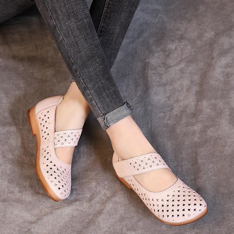 28bc46747e753 Women Pink Flats Hollow Out Leather Shoes Casual Low Heels Mary Jane Flats  Spring 2019 Retro Handmade Genuine Leather Flat Women