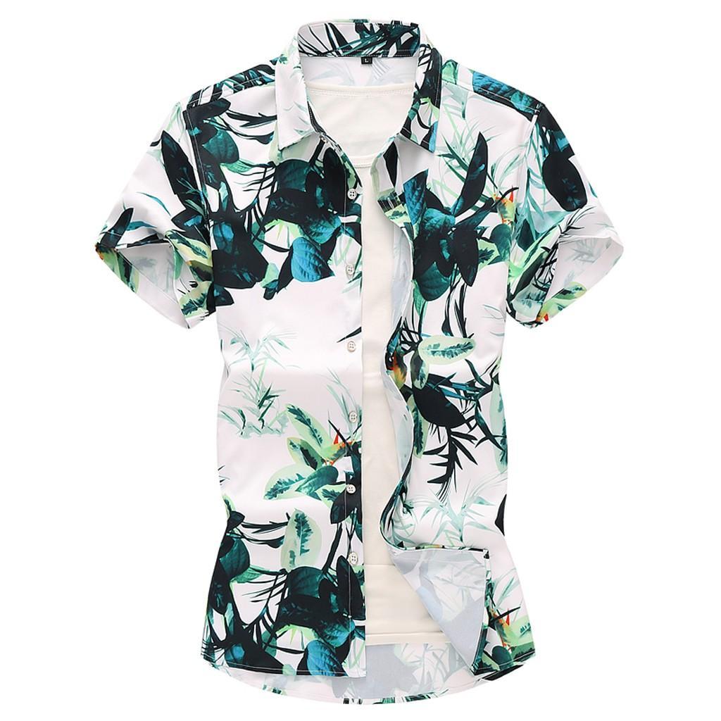 23acdc385cc3 Compre Moda Praia Camisas Havaianas Homens Roupas De Verão Árvore De Coco  Impresso Manga Curta Botão Para Baixo Havaiano Aloha Camisas Dos Homens De  ...