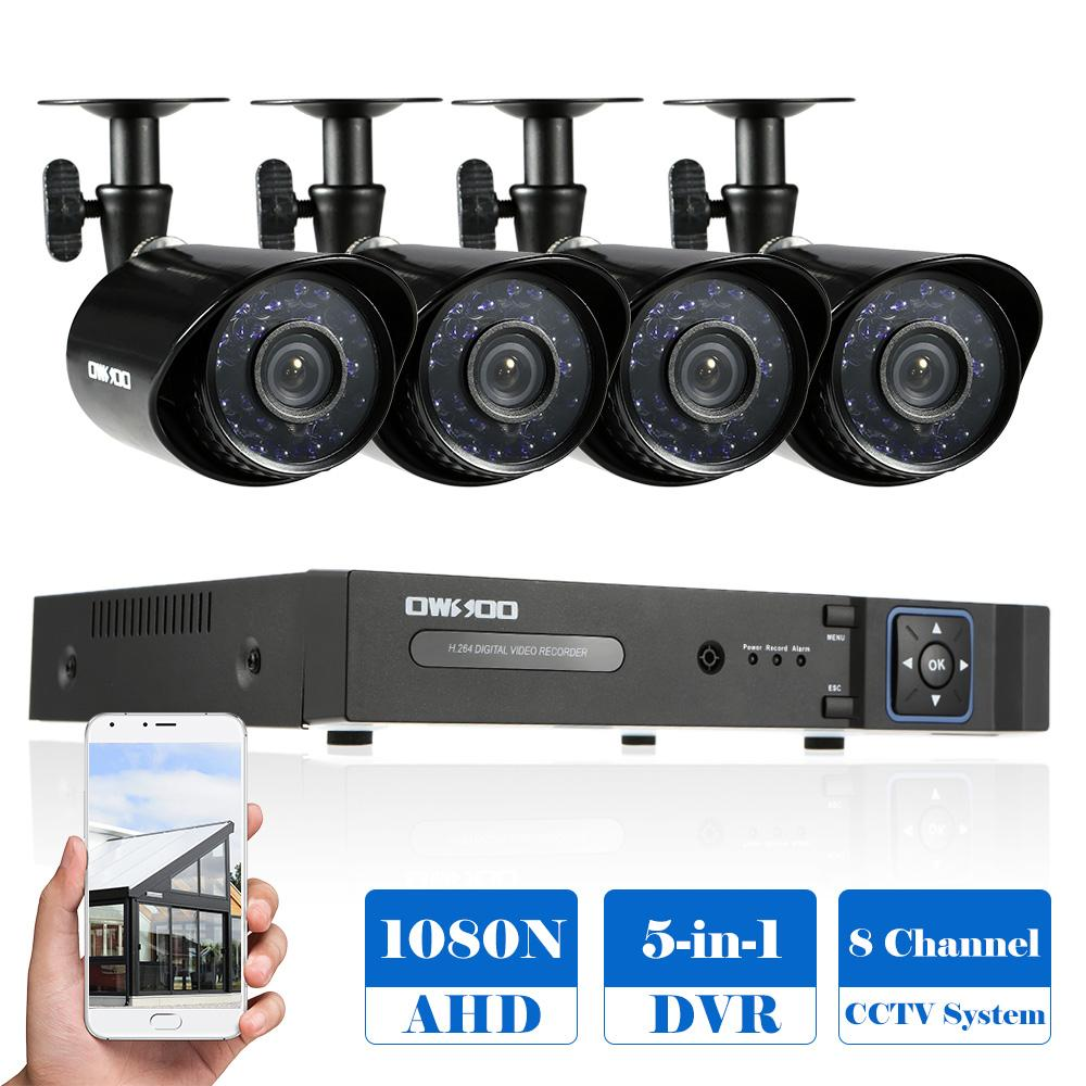 OWSOO 8CH 1080P Hybrid Digital Video Recorder + 4*720P AHD Waterproof IR CCTV Camera + 4*60ft Surveillance Cable CCTV System
