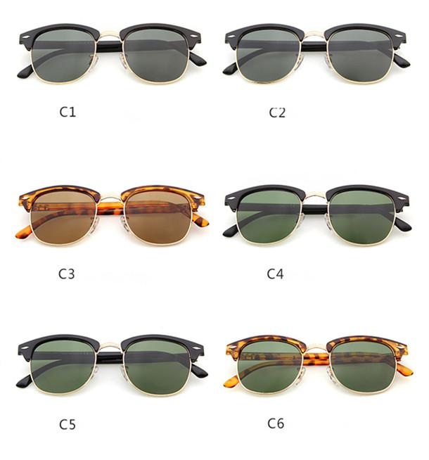 Brand Design 2017 Hot Sale Half Frame Sunglasses Women Men Club Master Sun Glasses Outdoors Driving Glasses Uv400 Eyewear
