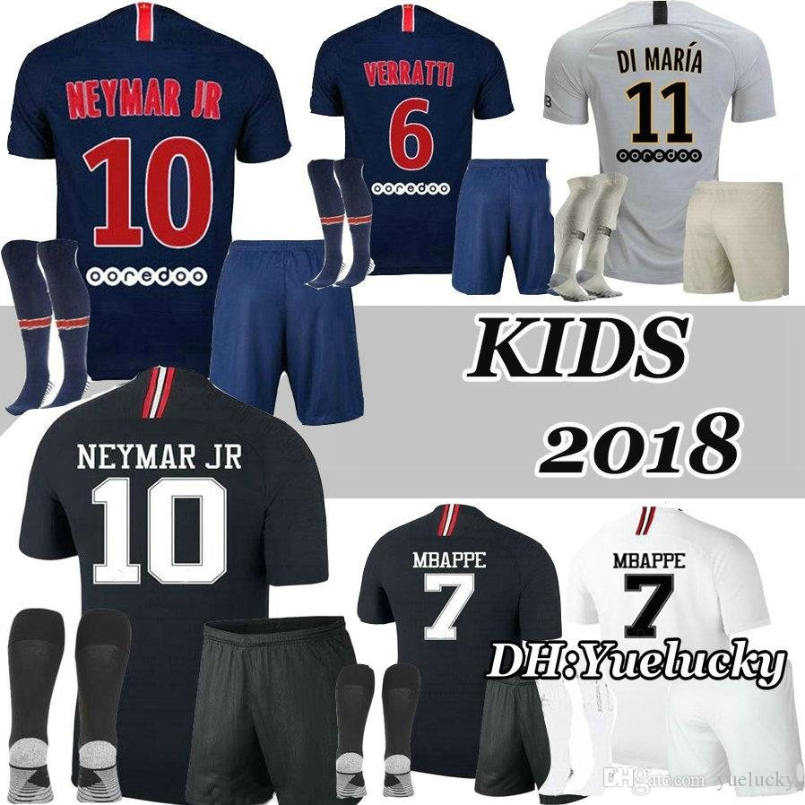 548f41ab9 2019 2018 2019 Kids Kits VERRATTI Soccer Jerseys 18 19 Mbappe Home CAVANI DI  MARIA PASTORE MAILLOT DE FOOT Child Survetement Football Shirts From  Yuelucky