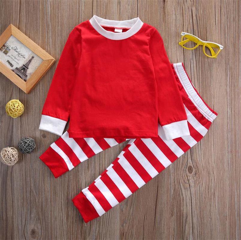 العلامة التجارية الجديدة عيد الميلاد طفل بيبي بوي بنات عيد الميلاد التي شيرت كم طويل الأعلى + سروال مقلم يغطي الرجل ملابس للنوم ملابس نوم مجموعة