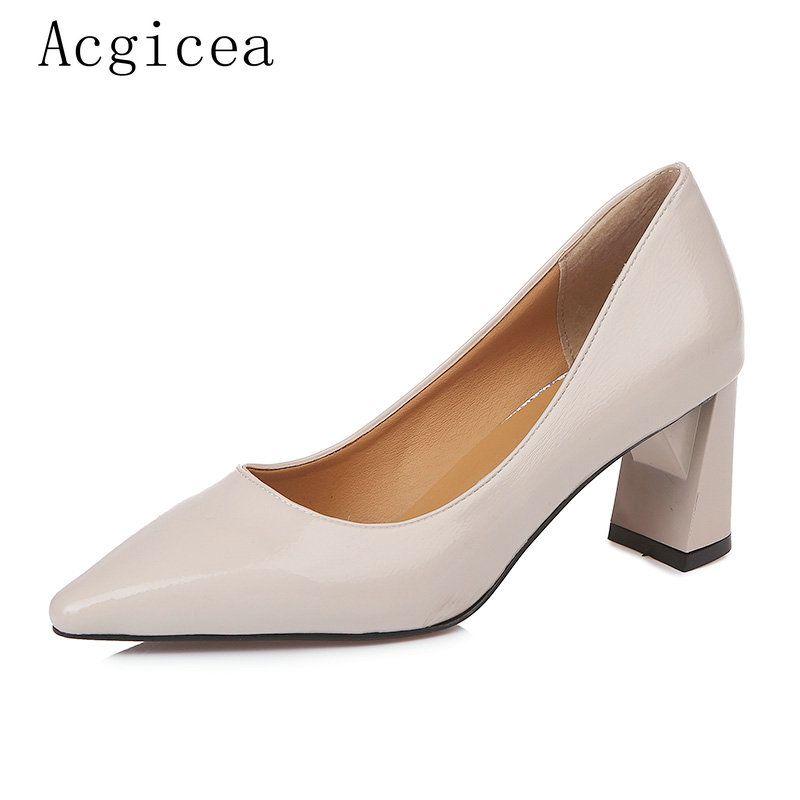 f638321aa Compre Designer De Vestido Sapatos 2019 Nova Moda Primavera Mulheres Bombas  Normal Trabalhando Quadrado De Salto Alto Mulher Senhoras Formais Rasa ...