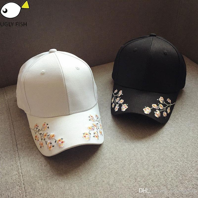 6c0fb1a18567cd Cap Women Black Pink Baseball Cap Women Black Flowers White Caps ...