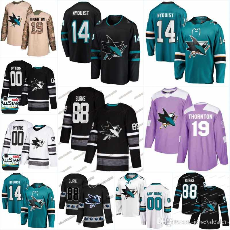 size 40 170a6 0b7a8 14 Gustav Nyquist San Jose Sharks Jersey 65 Erik Karlsson 18 Micheal Haley  31 Martin Jones 30 Aaron Dell 28 Timo Meier Hockey Jerseys