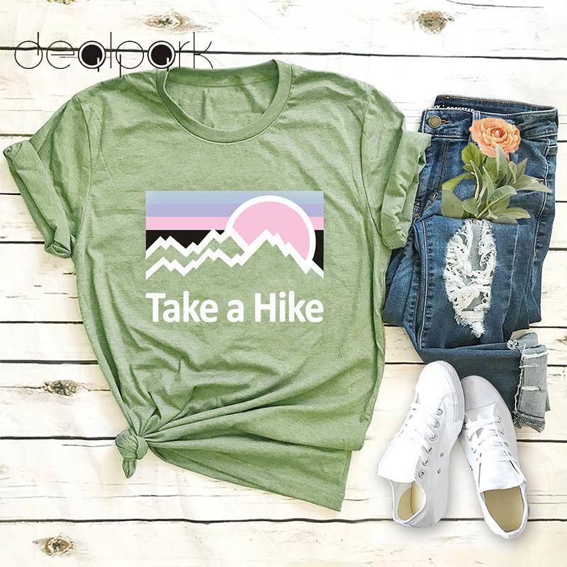 d9c32b44 2019 Summer Funny T Shirt Women Cotton T Shirt Take A Hike Letter Print  Short Sleeve O Neck Tee Shirts Female Tops Plus Size 5XL Tourist Shirts Of T  Shirt ...